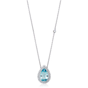 Aquamarine & Diamond 'Alarna' Pear Shaped Necklace - Gemma Stone Jewellery