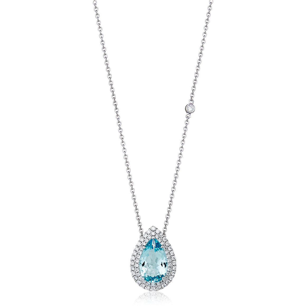 Aquamarine & Diamond 'Alarna' Pear Shaped Necklace - Gemma Stone  ABN:51 621 127 866