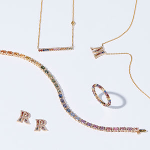 """Simbolo"" Collection Diamond & Sapphire Letter Earring"
