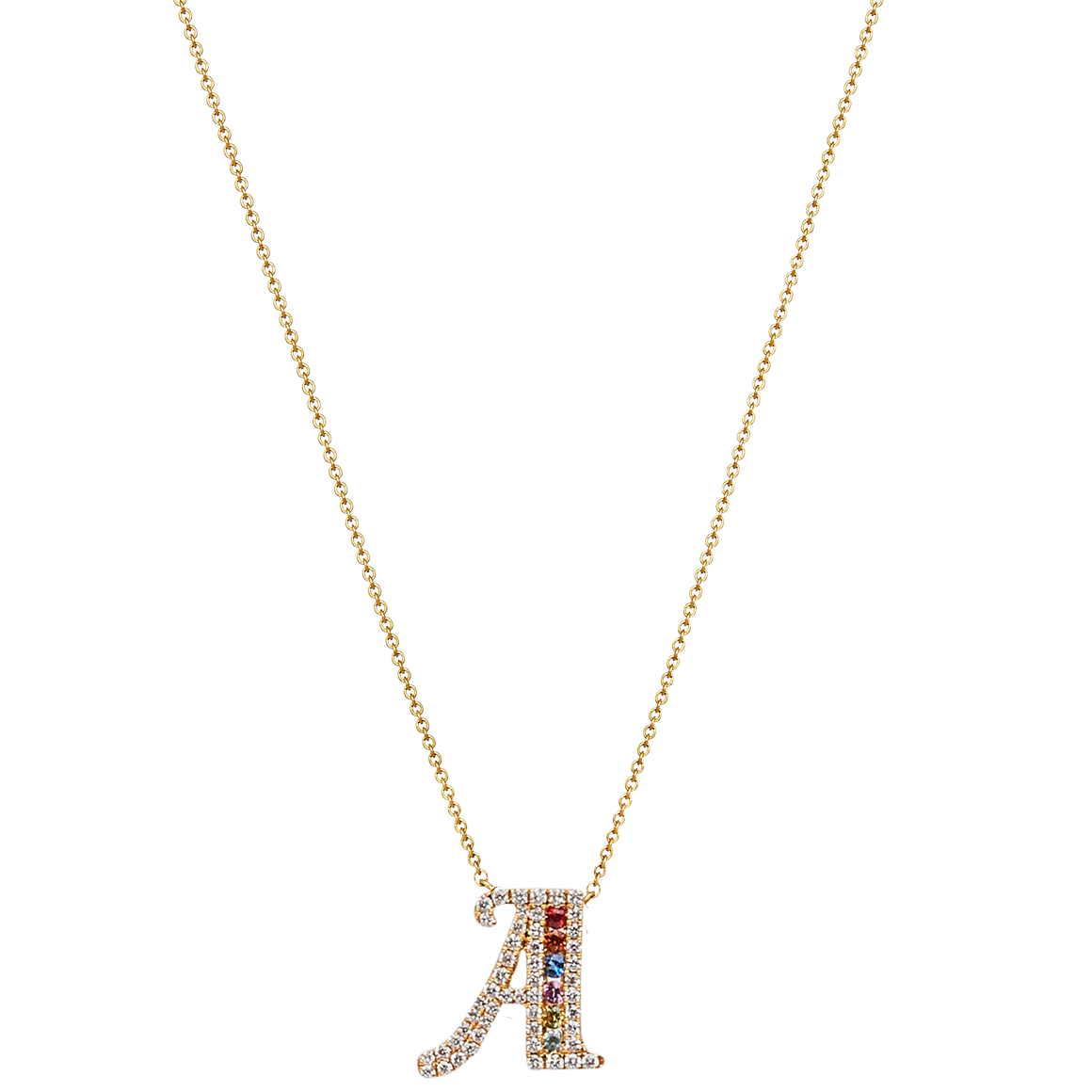 """Simbolo"" Collection Diamond & Sapphire Letter Pendants - Gemma Stone Jewellery"