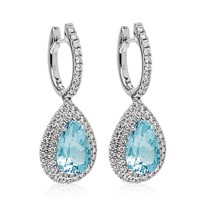 Aquamarine & Diamond 'Alarna' Pear Shaped Earrings - Gemma Stone Jewellery