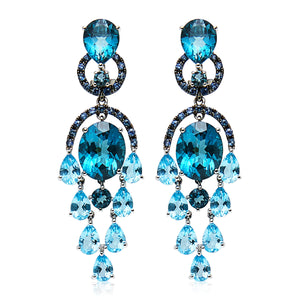 London Blue Topaz & Sapphire 'Florence' Earrings - Gemma Stone  ABN:51 621 127 866