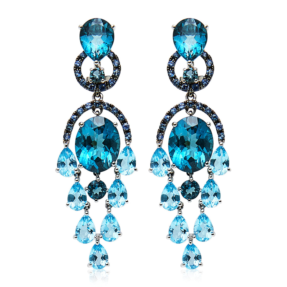 London Blue Topaz & Sapphire 'Florence' Earrings - Gemma Stone Jewellery