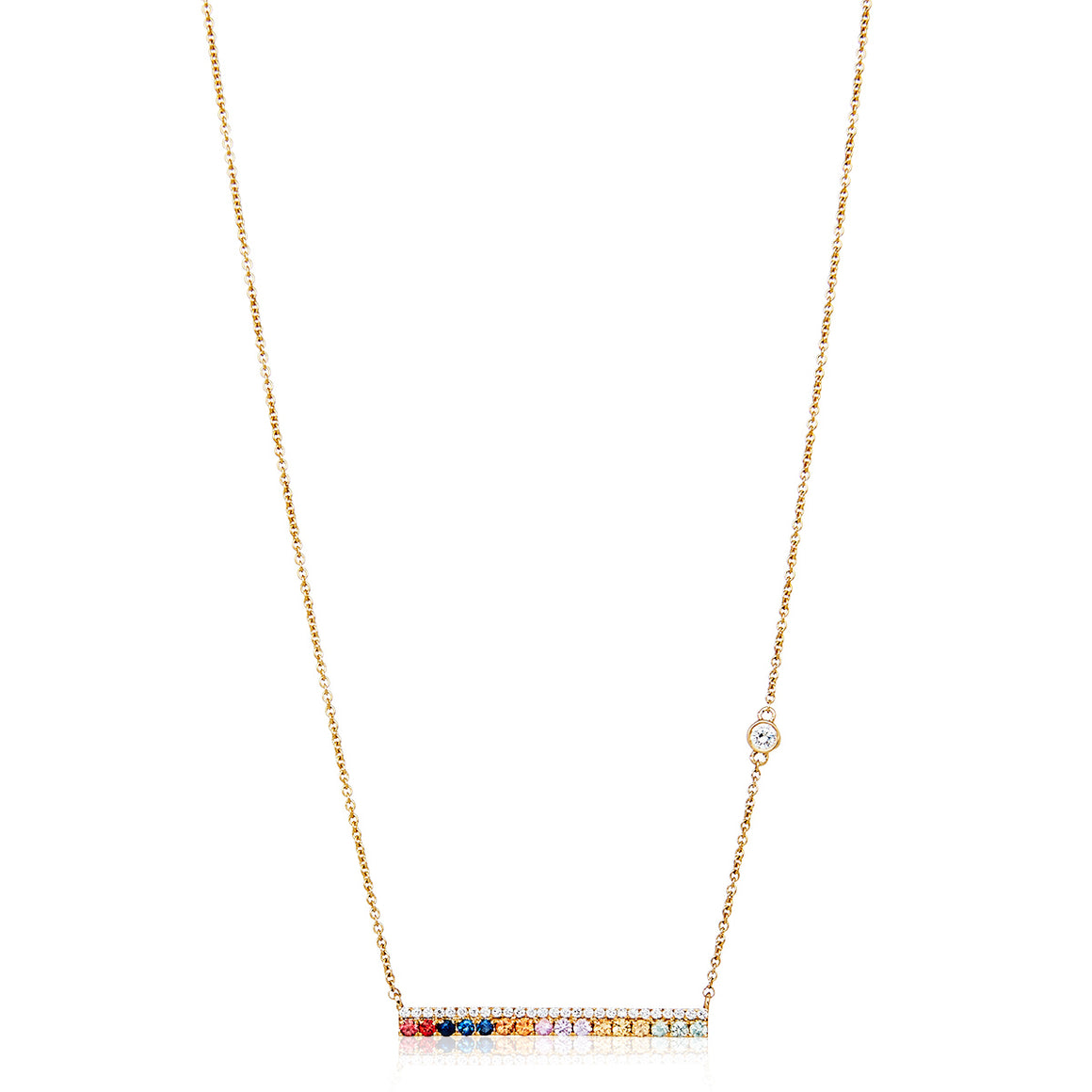 18ct Diamond & Sapphire Bar Necklace - Gemma Stone Jewellery