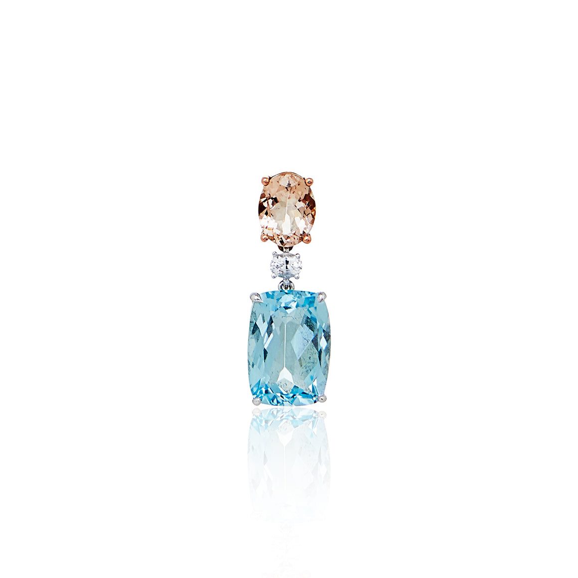 Morganite, White Sapphire and Sky Blue Topaz 'Azura' Pendant