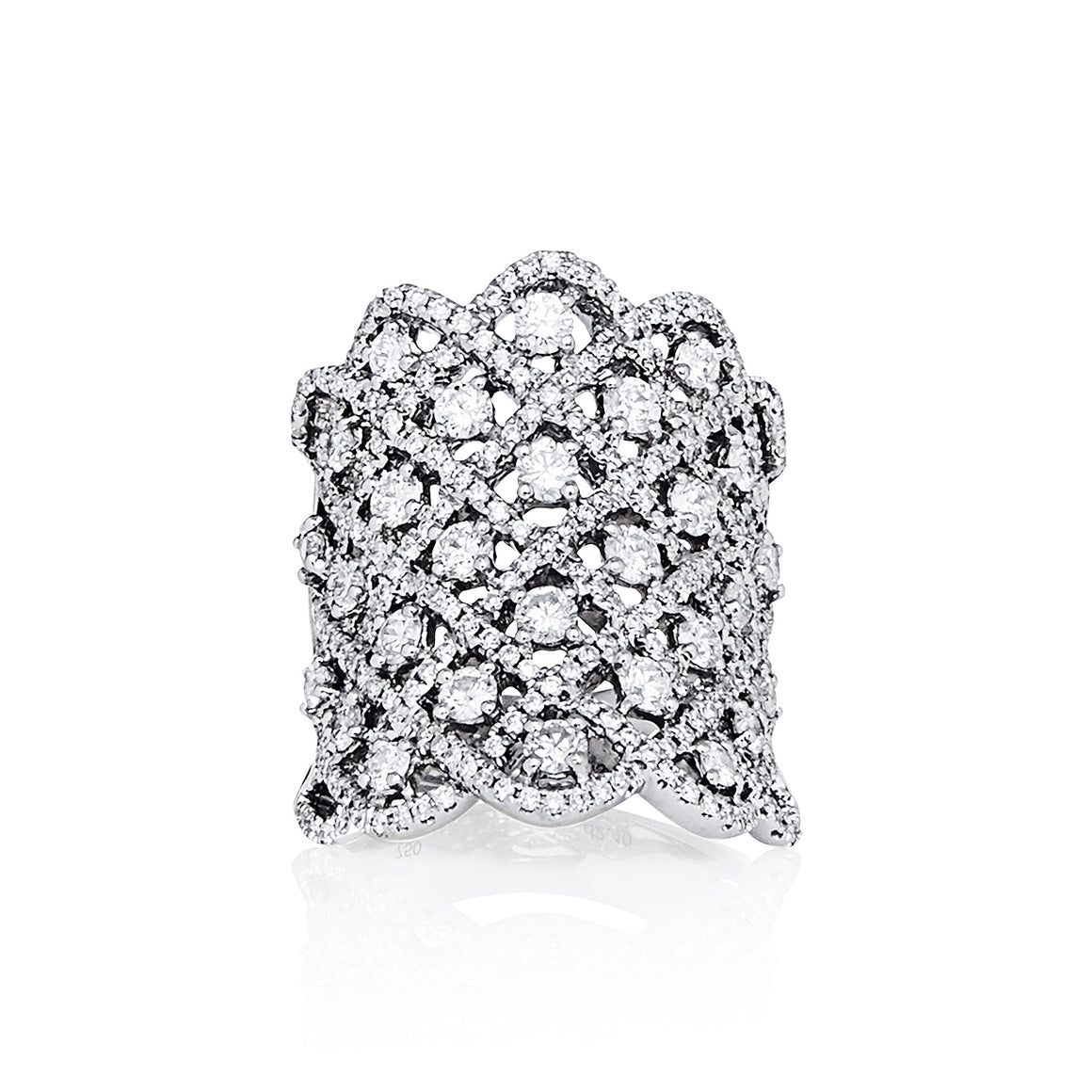 "White Gold and Diamond ""Meshie"" Ring"