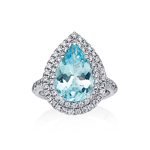 Aquamarine & Diamond 'Alarna' Pear Shaped Ring - Gemma Stone Jewellery