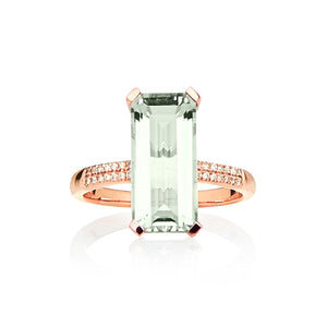 9ct Rose Gold, Green Amethyst & Diamond Ring