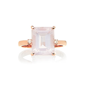 Rose Quartz and Diamond Bellagio Ring - Gemma Stone  ABN:51 621 127 866