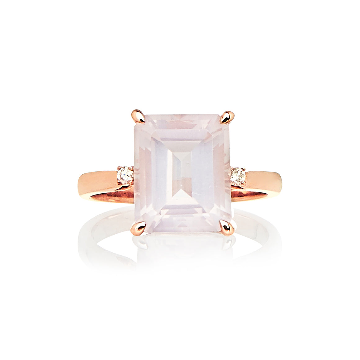 Rose Quartz and Diamond Bellagio Ring