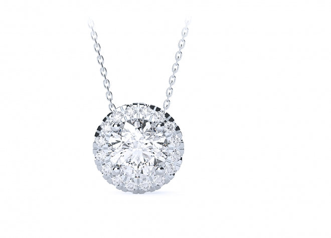 Diamond Solitaire with Halo Necklace (1) carat - Gemma Stone Jewellery