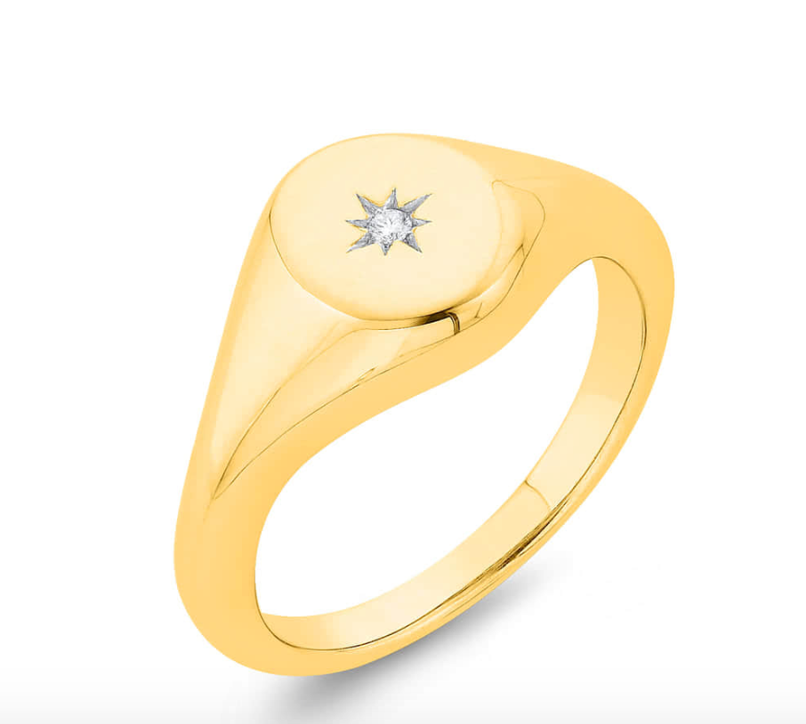 9ct Gold Diamond Star Pinky Signet Ring. - Gemma Stone Jewellery