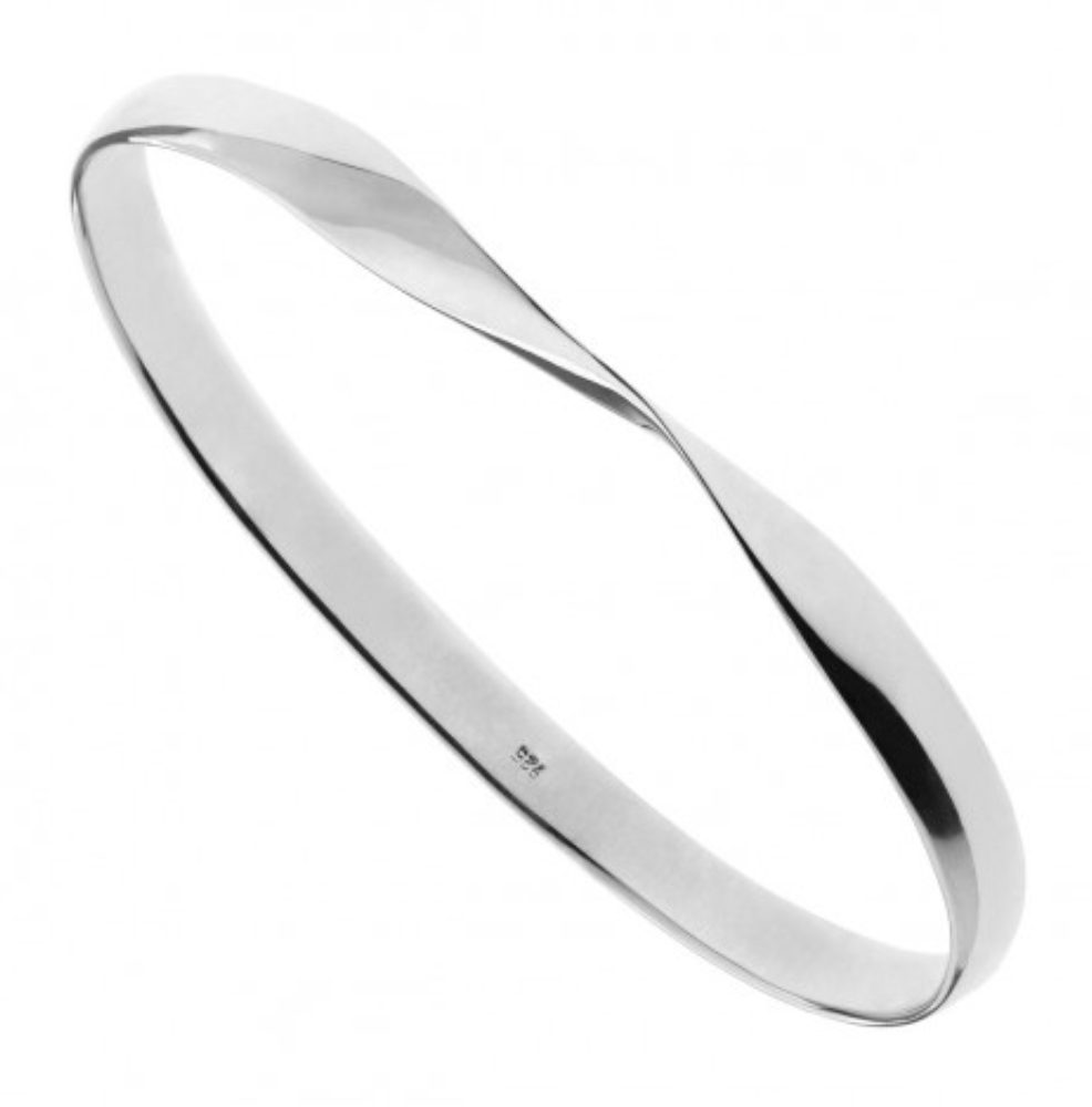 Silver Oval Twisted Bangle.