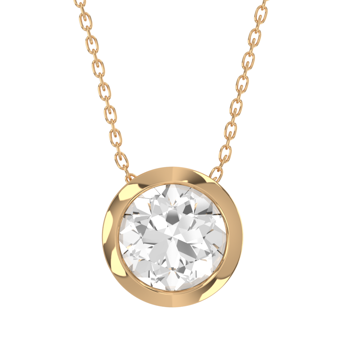 14ct Diamond Bezel Set Necklace