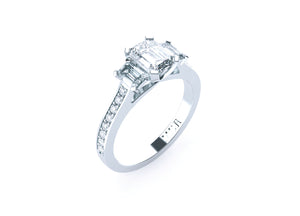 Emerald Cut Diamond Trilogy 'Lisa' Ring - Gemma Stone  ABN:51 621 127 866