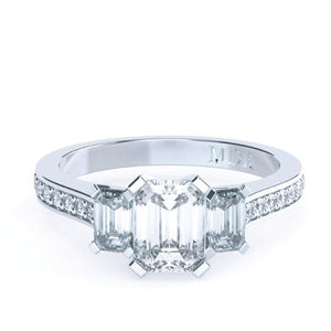 Emerald Cut Diamond Trilogy 'Lisa' Ring - Gemma Stone Jewellery