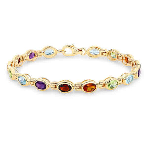 'Bacara' 9ct Gold Coloured Stone Bracelet - Gemma Stone Jewellery