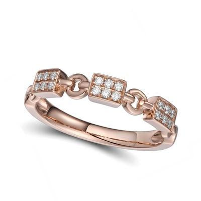Rose Gold and Diamond Link Ring - Gemma Stone Jewellery