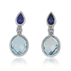 9ct Gold, Blue Topaz Bezel Set Earrings - Gemma Stone Jewellery