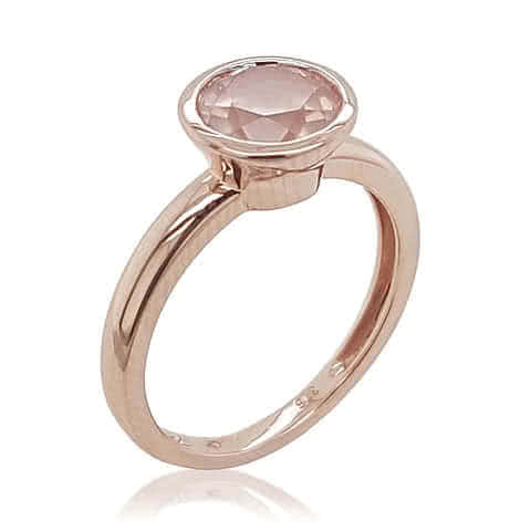 9ct Rose Gold and Rose Quartz Bezel Set Ring