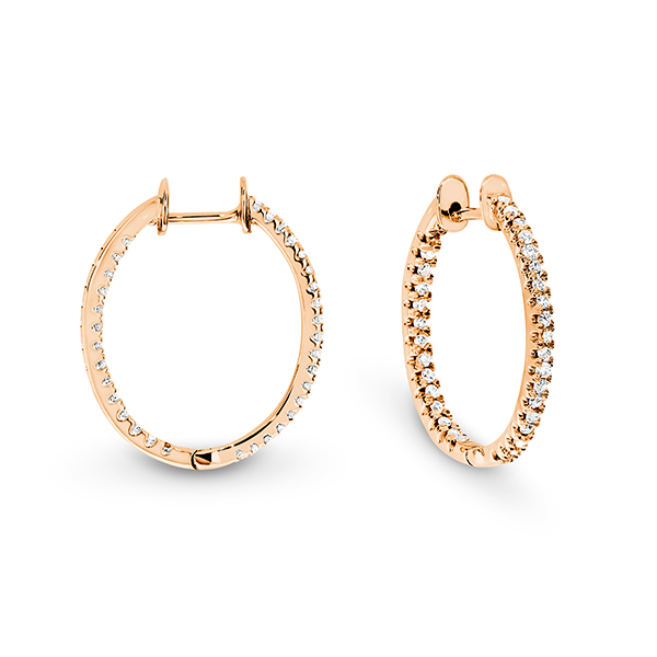 Gold & Diamond Oval Hoops - Gemma Stone Jewellery