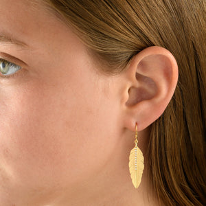 14 Carat Gold & Diamond Feather Earrings - Gemma Stone Jewellery