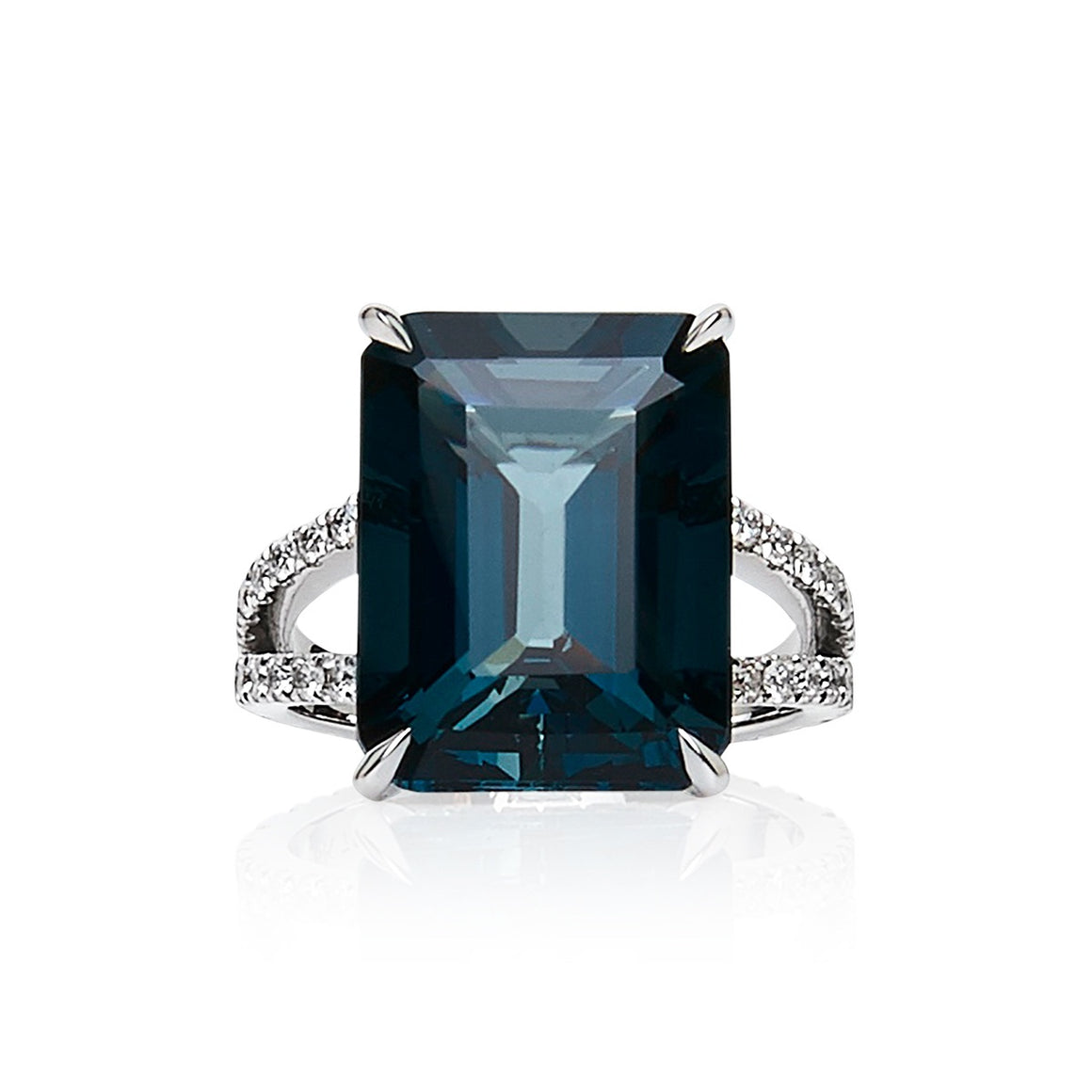 London Blue Topaz & Diamond 'Valonz' Ring - Gemma Stone Jewellery