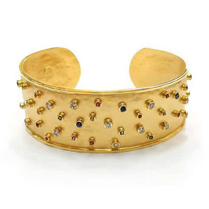 14ct Yellow Gold and Coloured Sapphire Cuff - Gemma Stone Jewellery