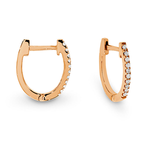 9ct Gold Diamond Oval Hoops - Gemma Stone Jewellery