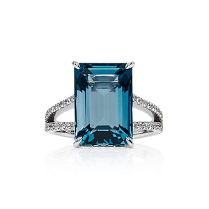 London Blue Topaz & Diamond 'Leilana' Ring - Gemma Stone  ABN:51 621 127 866