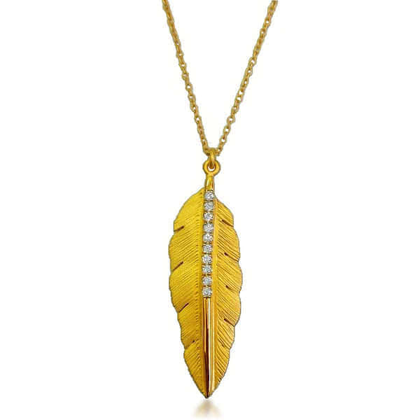 14ct Gold & Diamond Feather Necklace - Gemma Stone  ABN:51 621 127 866