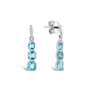 Blue Topaz & Diamond 'Babylon' Drop Earrings - Gemma Stone Jewellery