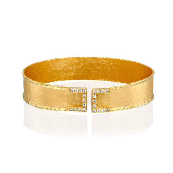 14ct Yellow Gold and Diamond Montenegro Cuff - Gemma Stone Jewellery