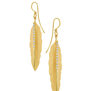 14 Carat Gold & Diamond Feather Earrings - Gemma Stone  ABN:51 621 127 866