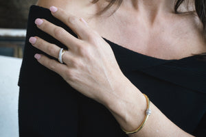 Gold Plated Diamond 'Lorna' Bangle - Gemma Stone Jewellery