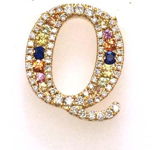 """Simbolo"" Collection Diamond & Sapphire Letter Earring - Gemma Stone  ABN:51 621 127 866"