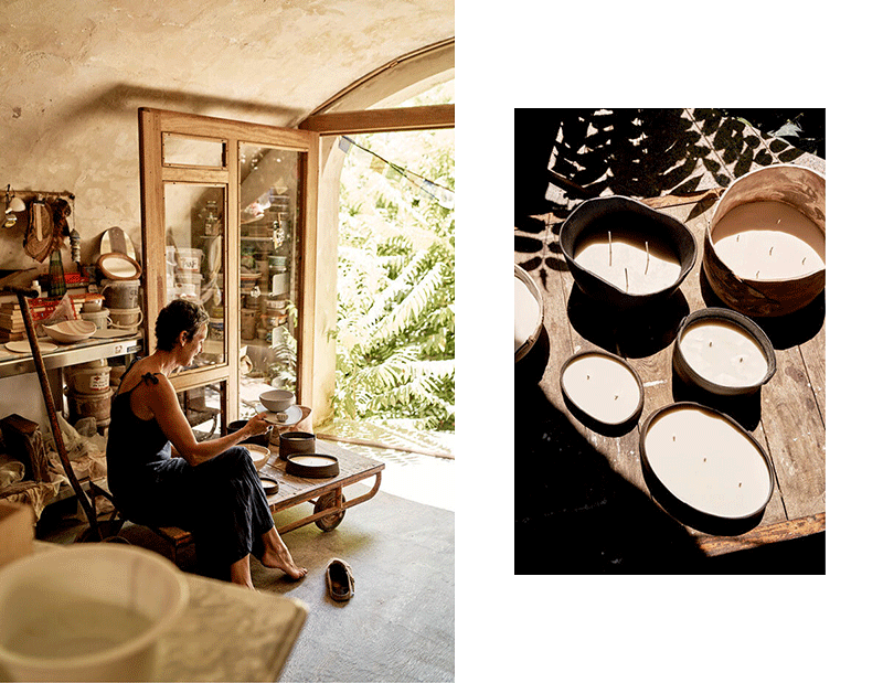 Blanca wearing Sunad with her ceramic candles