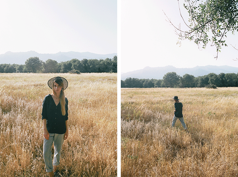 Girl wearing Sunad at the countryside