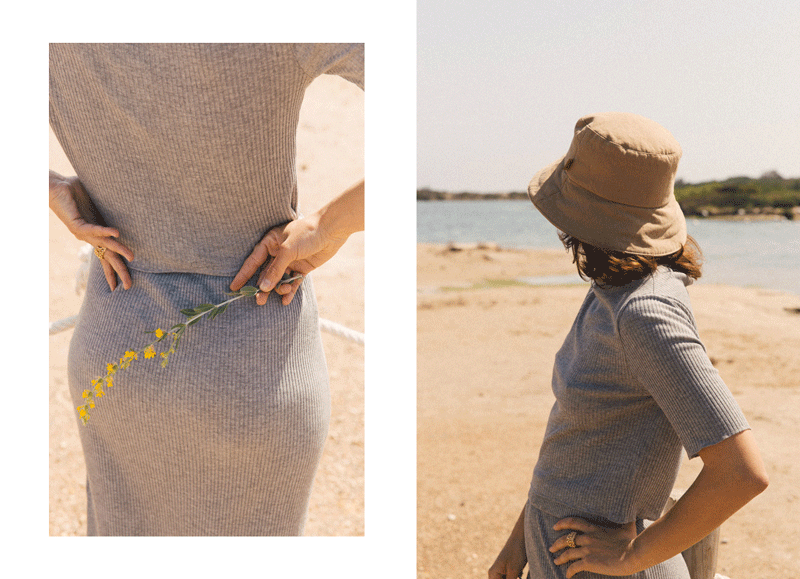 sunad knitwear pieces at the beach
