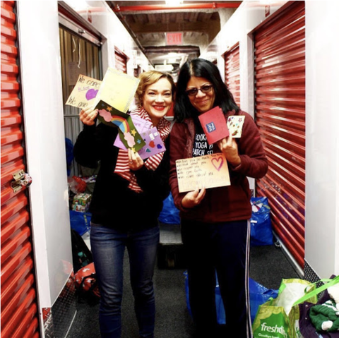(Photo taken in 2019: The Shoebox Project volunteers getting ready to distribute gift-filled shoeboxes in New York City.)