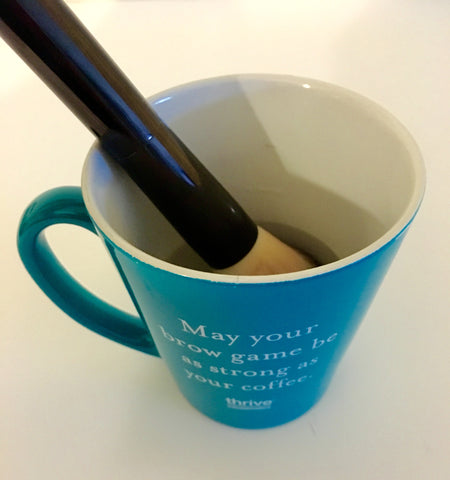 Thrive Causemetics Brow Game Strong Mug with makeup brush