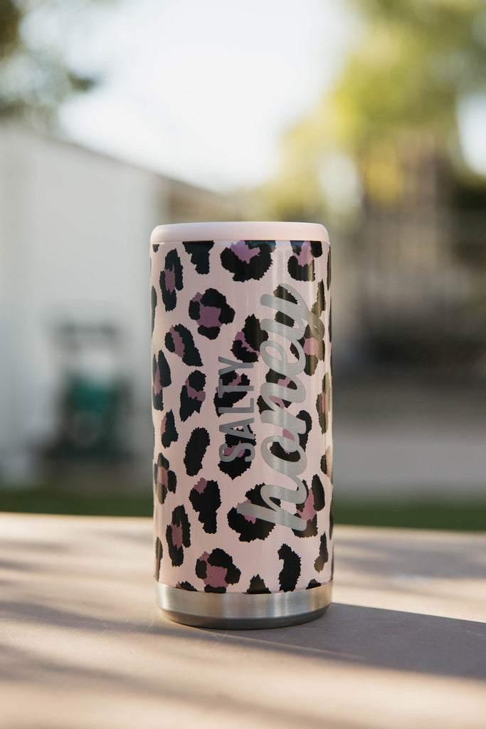 CAN COOLER in Blush Leopard