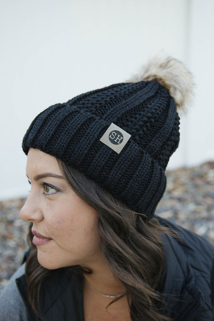 SOLID BLACK Fur Pom Beanie