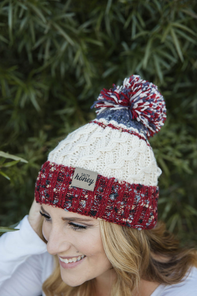 TRI-COLORED FLECKLE Pom Beanie