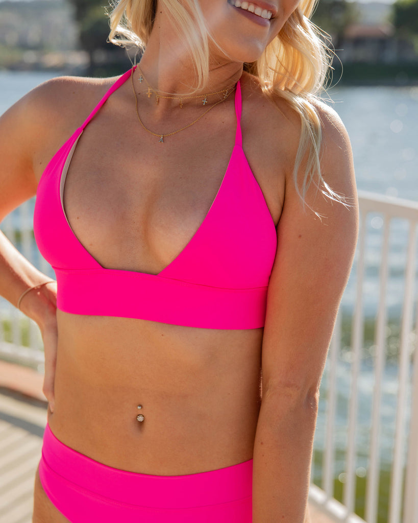 TRIANGLE TIE TOP in Neon Pink