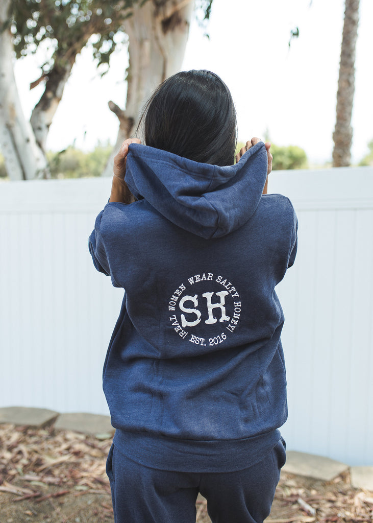 ZIP UP HOODIE IN NAVY