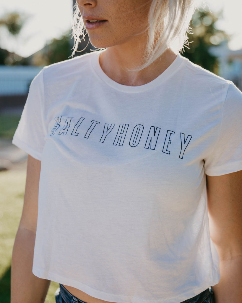 SH Crop Tee (Boxed Logo) in White