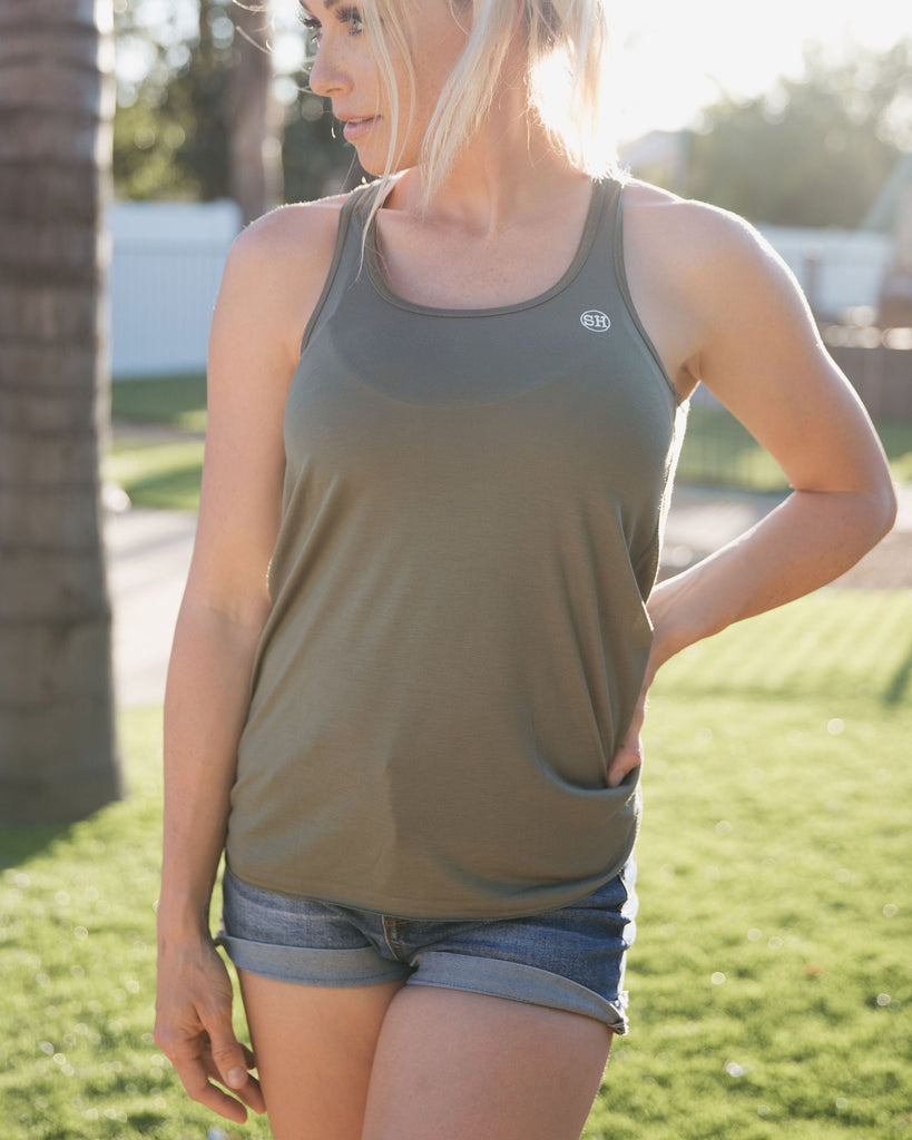 Racerback Tank in Military Green