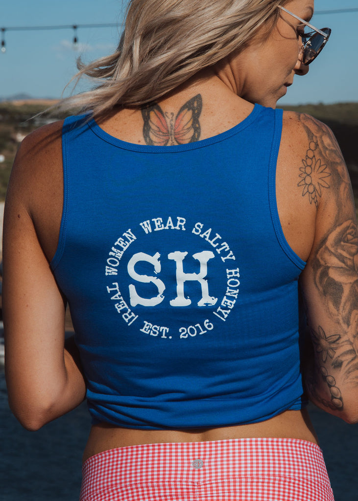 SH v neck tank in Royal