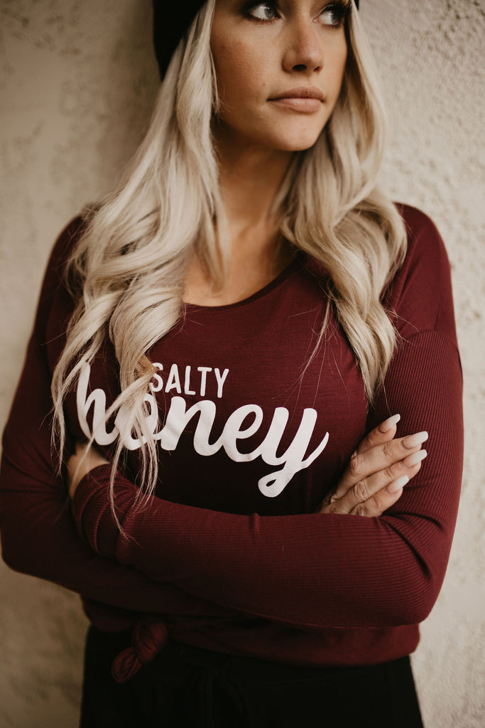 Ribbed Long Sleeve in Cranberry